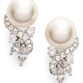 Nadri 'Pearl Essence' Cubic Zirconia Stud Earrings | Nordstrom