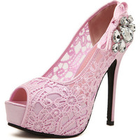 Rhinestone Lace Peep Toe Stiletto Heel Platform Shoes