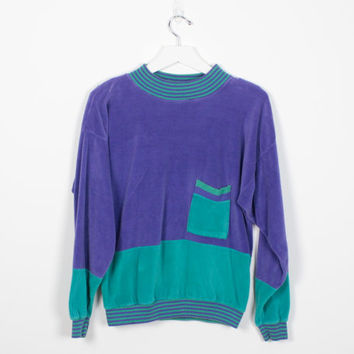 Vintage 80s Sweater Purple Teal Green Striped Athletic Sweatshirt Soft Velvet Velour Feel Color Block 1980s New Wave Pullover Top M Medium L