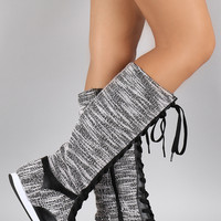 Qupid Tweed Knee High Sneaker