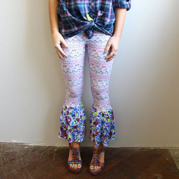 Eco Friendly Aztec Tribal Native Floral Festival Fair Isle Print Flare Bloomer Leggings Yoga Ruffle Pants Size Small by MountainGirlClothing