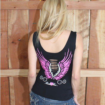 Black Wing and Letter Print Sleeveless T-Shirt