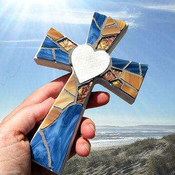 Handmade Wall Cross, Small Stained Glass Mosaic Cross, Nautical White Cross, Blue Mosaic Cross, Baptism Cross, Small Crucifix, Heart Cross