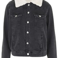 TALL Borg Denim Jacket - Washed Black