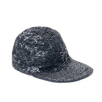 Vintage 1990s black, fully sequinned party cap with brim and elasticated back strap