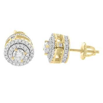 14k Gold Finish Solitaire Prong Side Iced Out Silver Earrings