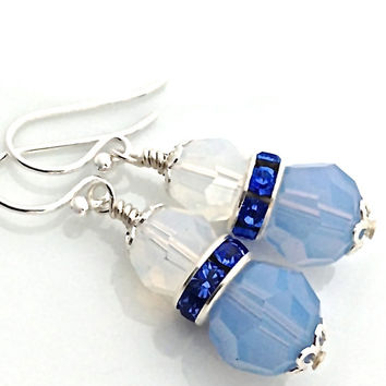 Light Blue Earring, Large Crystal, Sapphire, Something Blue, Wedding