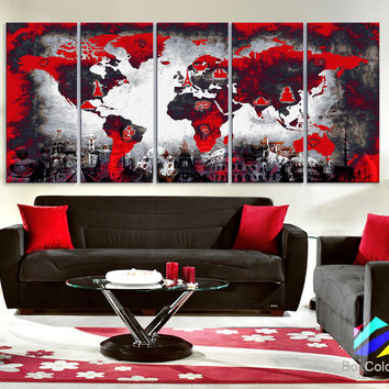 Best white world map wall art products on wanelo xlarge 30x70 5panels art canvas print original wonders of the gumiabroncs Choice Image