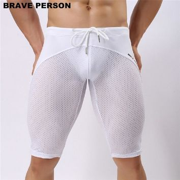 BRAVE PERSON brand Men's Terry Jogger Shorts Athletic Men's Sport Running tights Elastic  Gym Shorts Swimwear Polyester mesh