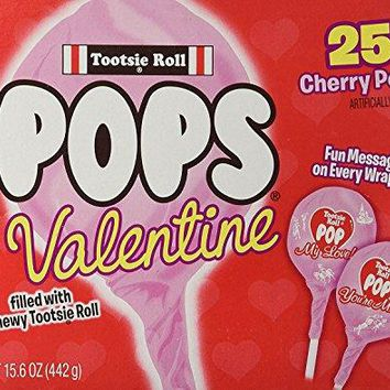Special Edition Tootsie Roll 25 Valentine Cherry Pops ~ Fun Messages on Every Wrapper