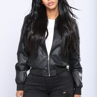 Sheri Faux Leather Jacket - Black