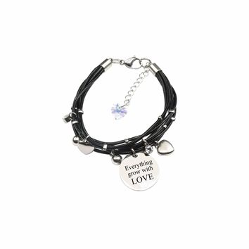 Genuine Leather Bracelet Made With Crystals From Swarovski - Everything Grows