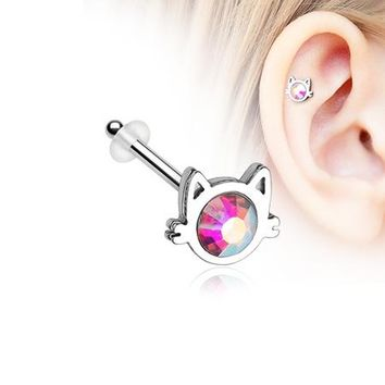 Adorable Cat Face Iridescent Sparkle Piercing Stud with O-Rings