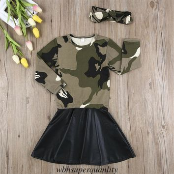 US Kids Child Baby Girl Camo Dress Headband Toddler Kid Clothes Set Outfits