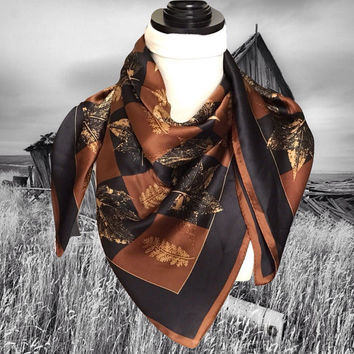 Vintage Silk Echo Scarf with Autumn Leaves Brown Black and Gold Square Scarf Bouquet Rolled Edges
