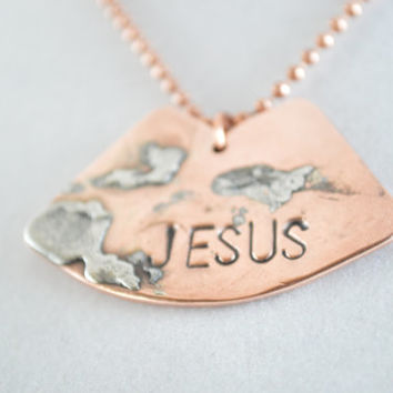 Copper Pendant, Jesus Pendant, Jesus Copper Pendant, Inspirational Jewelry, Copper Jewelry, Unisex Jewelry,Copper Necklace,Copper Ball Chain
