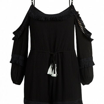 Black Spaghetti Strap Cold Shoulder Tassel Hem Playsuit