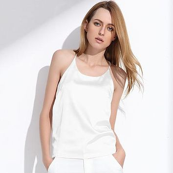 Women Silk Halter Top Summer Style Sexy Sleeveless Vest Slim Crop Top