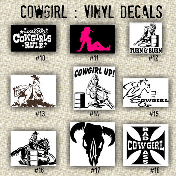 COWGIRL vinyl decals | country western | country girl | car decals | car stickers | laptop sticker - 10-18