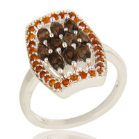 925 Sterling Silver Smoky Quartz And Citrine Gemstone Cluster Statement Ring