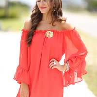 Autumn Ruffle Sexy Strapless Chiffon Long Sleeve Princess Dress Red One Piece Dress [4919437764]