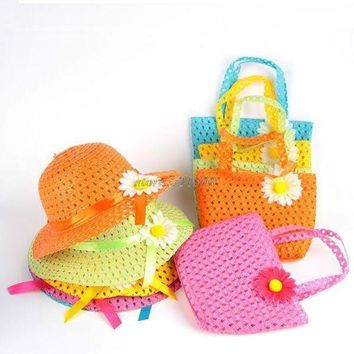 PEAP78W Summer Sun Hat Girls Kids Beach Hats Bags Flower Straw Hat Cap Tote Handbag Bag Suit 1-6Y JUN06