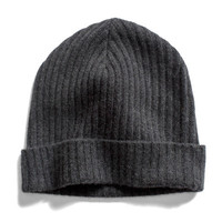 Charcoal Rib Cashmere Watchman Hat