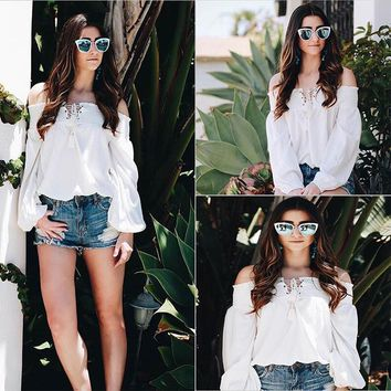 Off Shoulder LaceUp White Blouse