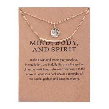 Double Golden Meditations Card Alloy Clavicle Pendant Necklace   171211