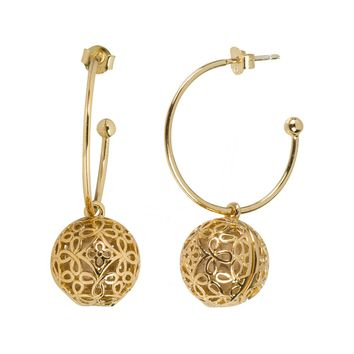 Boho Hoop Fragrance Earrings with Gold Tone Charm