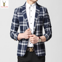 England Style Plaid Printed suits Blazer Men Slim Fit Checked Mens Blazers Fashion 2016 New Spring Designs Brand Masculino