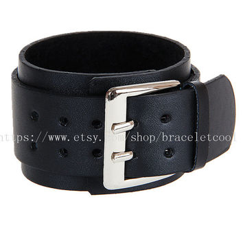 Black Real Leather and Metal Snapper Buckle Men's Leather Wristband Cuff Bracelet,Women's Cuff  SL190