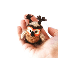 crochet owl, miniature tiny owl, woodland animal, amigurumi owl, miny owl, stuffed owl,brown orange, home decor, collectible, tiny animal