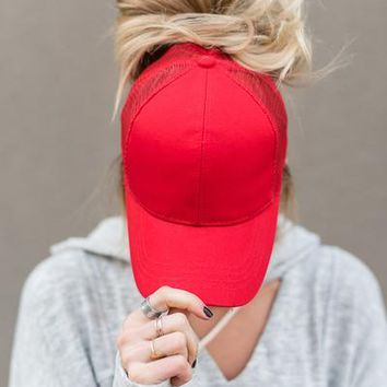 Messy Bun Baseball Hats - Red
