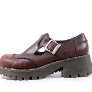 90s Vintage Platform Mary Janes Brown Leather Chunky Grunge Goth Preppy Shoes Women Size US 9 UK 7 EUR 39/40