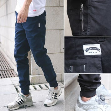 Slim Pants Zippers With Pocket Men Skinny Pants [6544256643]