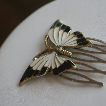 Vintage Upcycled Enamel Butterfly Hair Comb by ahunterrn on Etsy