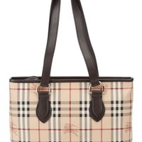 ONETOW Burberry Haymarket Regent Tote-Classic Check/Chocolate