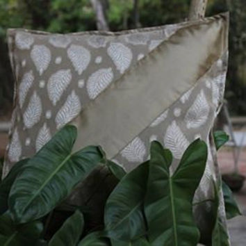 Decorative Throw Pillow cover in Off white fabric with Leaf Motif Fabric Home Decor Accent Pillows 16 x 16 Pillow Cover Cushion Cover