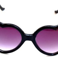 QLook Womens Neon Heart Shaped Lolita Sunglasses - (Various Colors)
