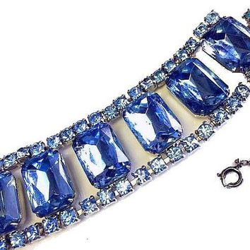 "Juliana Blue Link Bracelet D&E Emerald Cut Rhinestones Sky Blue Color Silver metal 7.5"" Vintage 1970s"