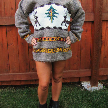 vintage oversized wool deer sweater. cowichan sweater. back to school. wool cotton blend. made in Equador