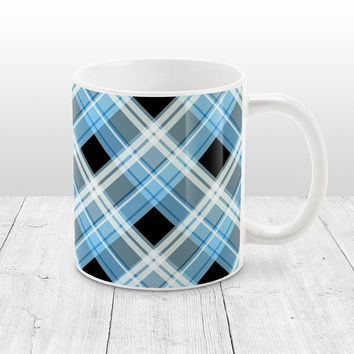 Alternative Blue Plaid Mug - Black White Blue Plaid Pattern - 11oz or 15oz Blue Mug - Made to Order