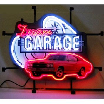 """Dream Garage Chevy Chevelle SS Glass Tube neon sign LIGHT Handcrafted Automotive signs Shop Store Business GAS OIL MAN CAVE  17""""x14"""""""