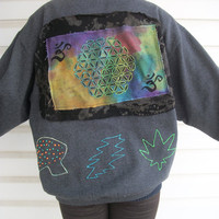 Flower of Life Upcycled Psychedelic Sacred Geo Puff Paint Applique Glow in the Dark Hoodie