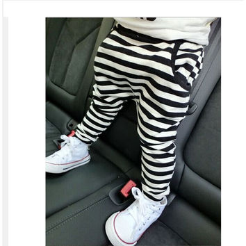 Brand New Kids Leggings Fashion Classical Striped Casual Pants for Boys Girls Cotton Children Soft Trousers Baby's Harem Pants