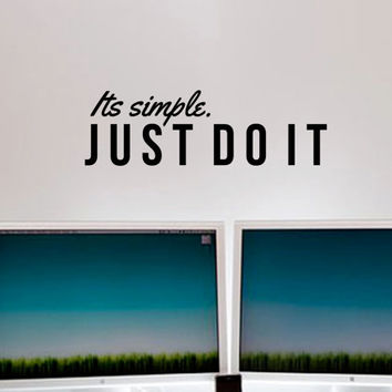 "Just do it Nike Inspirational Wall Decal Quote ""I'ts simple, just do it"" 36 x 11 inches"