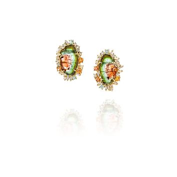 2.5ct Watermelon Tourmaline Earrings