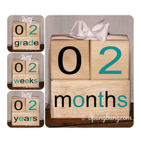 Wooden Baby Age Blocks. baby Photography Prop.  Pregnancy announcement. Baby shower gift. Monthly milestone blocks. Teal Black