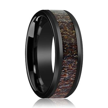 BONY Dark Brown Antler Inlaid in Ceramic Wedding Band
